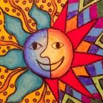 """""""Aztec Sun"""" oil pastels kids"""