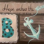 Anchor of Hope- Burlap and turquoise